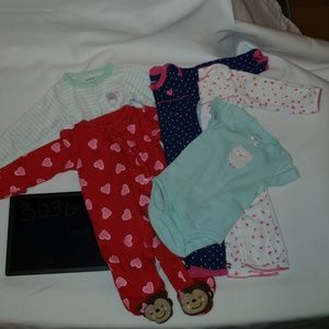 Carter's Sz Newborn ~ 5 one piece Bundle